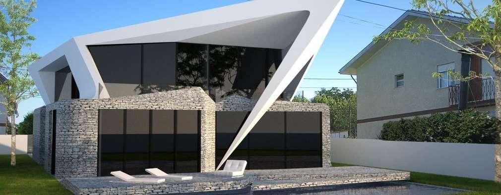 PT - Perspectiva Noroeste EN - Northwest Perspective FR - Perspective Nord-ouest: Habitações  por Office of Feeling Architecture, Lda