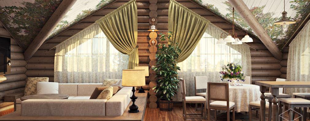 غرفة المعيشة تنفيذ студия визуализации и дизайна интерьера '3dm2'