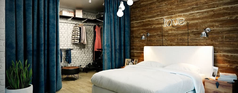 industrial Bedroom by CO:interior