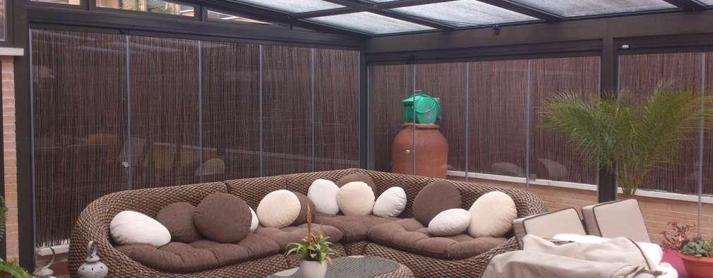 techo mvil y cortinas de vidrio jardines de invierno de estilo minimalista de alumenumuoz