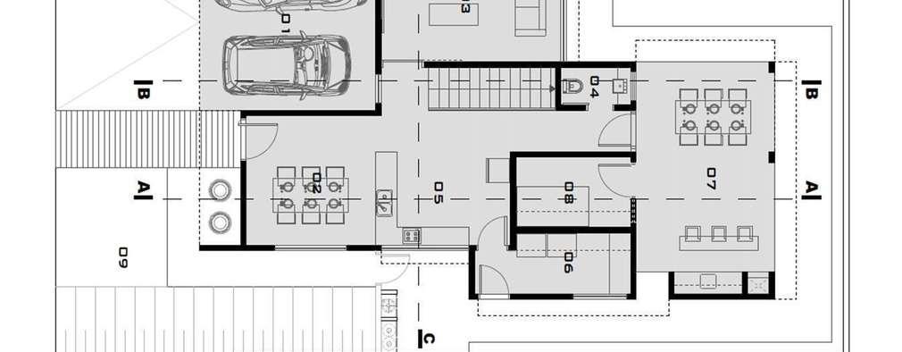 Basit yal n ve etkileyici planlar yla birlikte modern for Ejes arquitectonicos