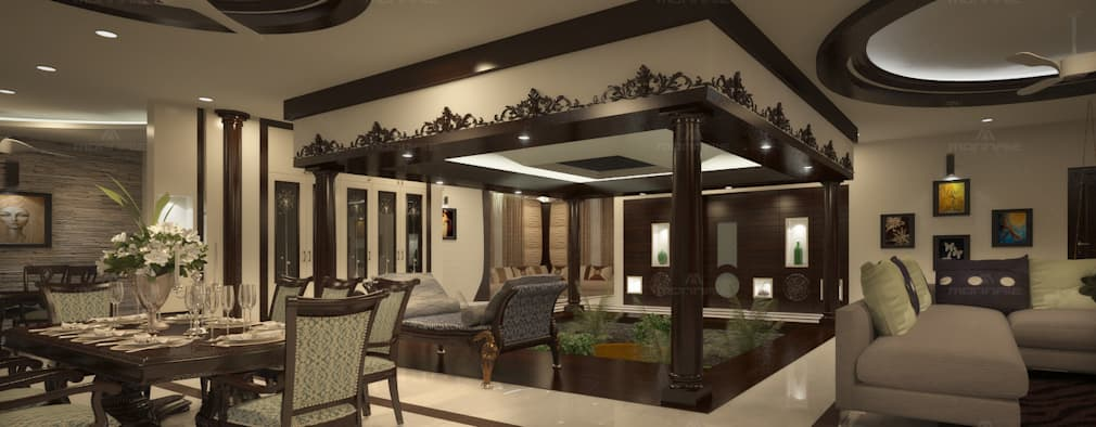 Nalukettu- Living area: classic Living room by Monnaie Architects and Interiors