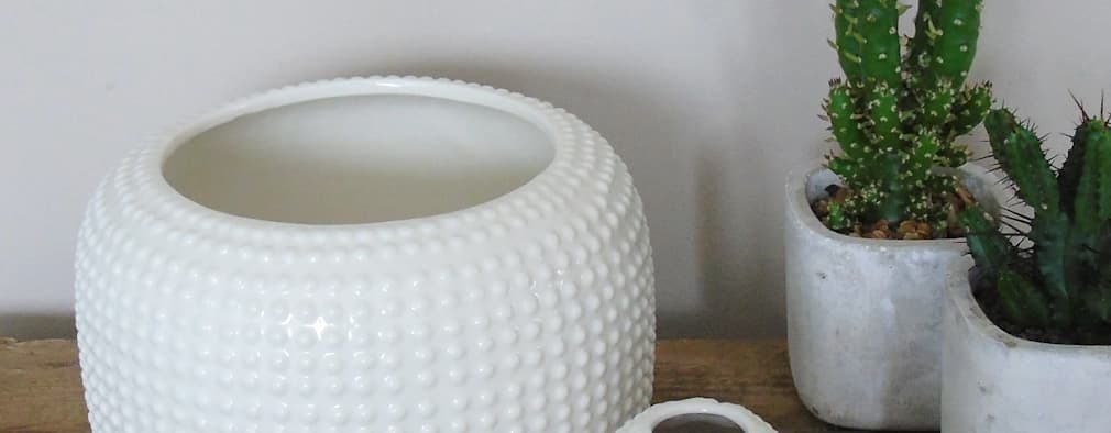 White Ceramic Textured Vases:  Household by The Den & Now