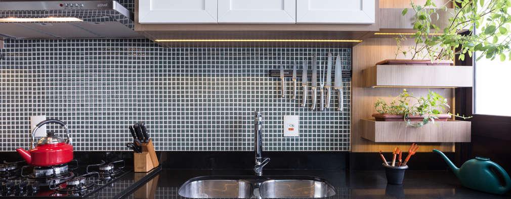 Cocinas de estilo moderno por Braccini + Lima Arquitetura