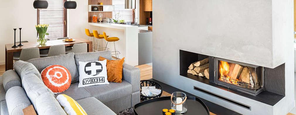 dom Kryspinów : styl , w kategorii Salon zaprojektowany przez kmb studio