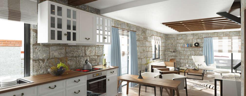 ROAS ARCHITECTURE 3D DESIGN – Open Kitchen: akdeniz tarzı tarz Mutfak