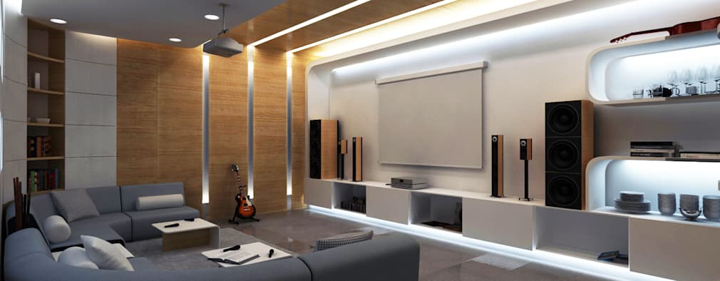 modern Media room by Lenz Architects