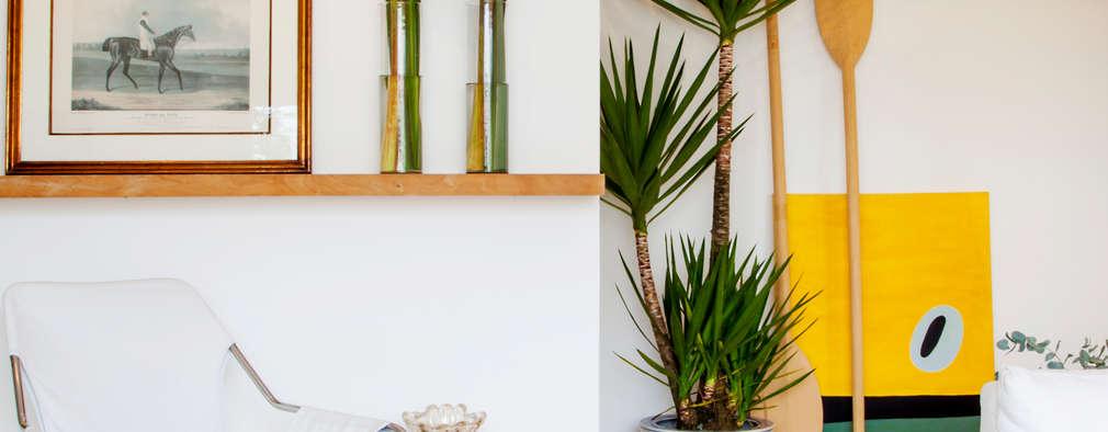 Salas de estilo tropical por Helô Marques Associados