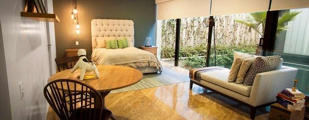 Departamento Tres Picos: Recámaras de estilo moderno por Concepto Taller de Arquitectura