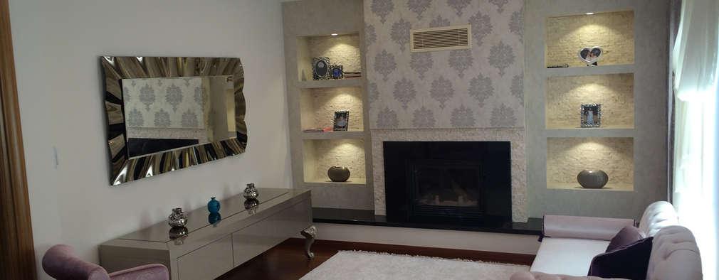 Salones de estilo moderno de HEBART MİMARLIK DEKORASYON HZMT.LTD.ŞTİ.