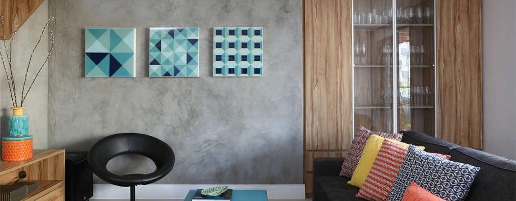 Salas de entretenimiento de estilo moderno por MANDRIL ARQUITETURA E INTERIORES