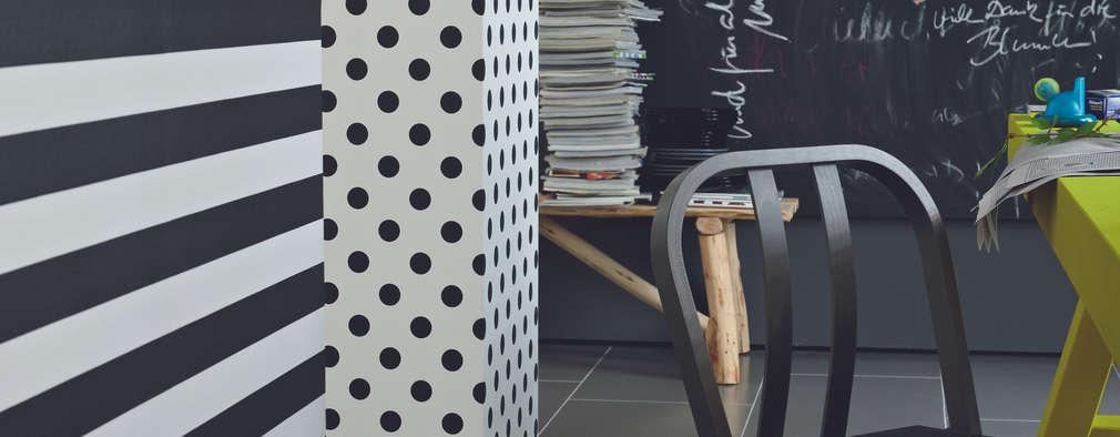 Blockstreifen schwarz/ weiß horizontal:  Wände & Boden von Tapeto® - Steffen Hannes