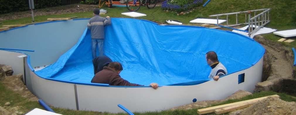 Una familia construy una piscina econ mica en el patio for Piscina economica