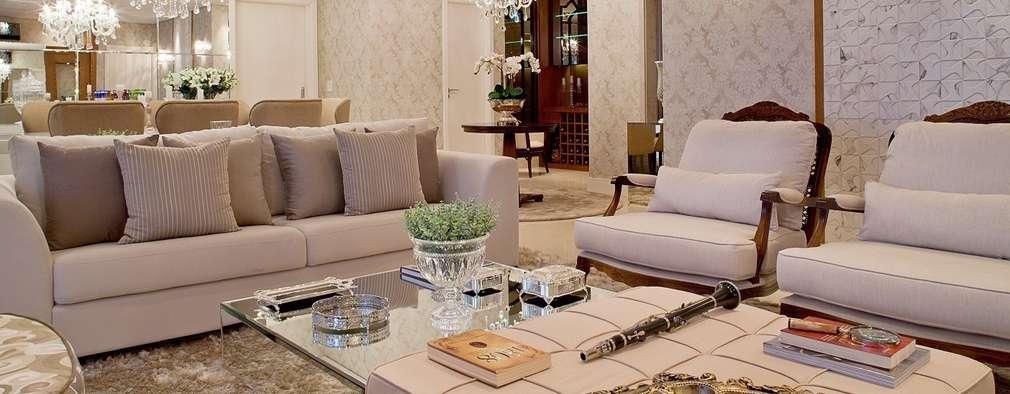 غرفة المعيشة تنفيذ Mariane e Marilda Baptista - Arquitetura & Interiores