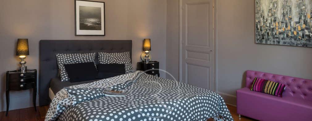Projekty,  Sypialnia zaprojektowane przez Sandrine RIVIERE Photographie