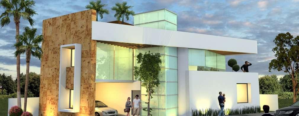 Fachada nocturna sin balcón: Casas de estilo minimalista por Milla Arquitectos S.A. de C.V.