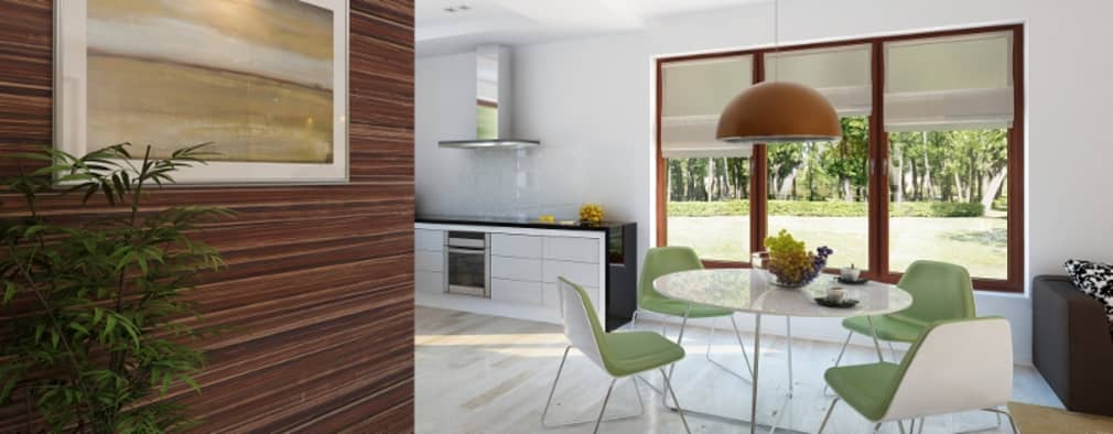 Salas de jantar modernas por Biuro Projektów MTM Styl - domywstylu.pl