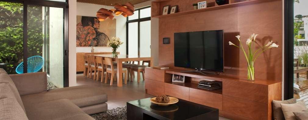 19 salones peque os con televisi n modernos y acogedores for Salones modernos pequenos