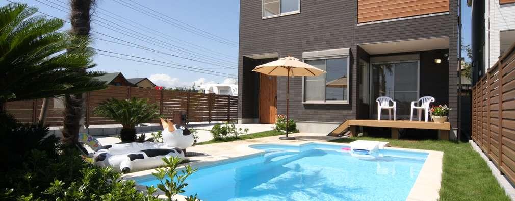 저비용으로 완성한 수영장이 있는 고급 주택