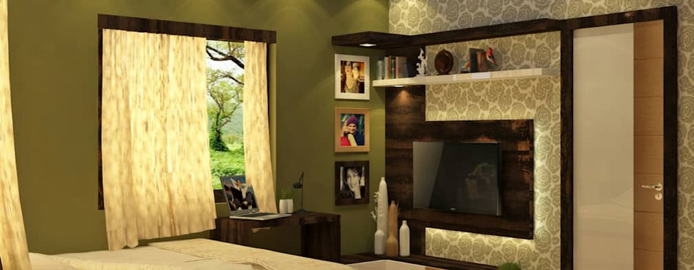 Room 5 tv view: modern Bedroom by Creazione Interiors
