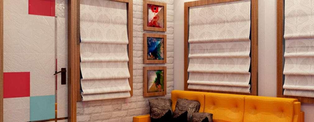 Living Room Sofa Area:   by Creazione Interiors