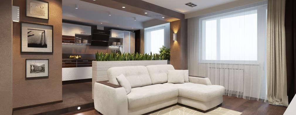 дизайн-проект однокомнатной квартиры для молодого человека.: Гостиная в . Автор – Катя Волкова