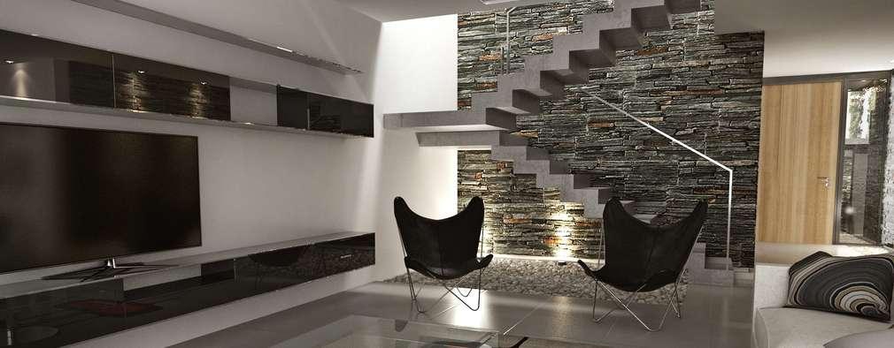 Salas / recibidores de estilo moderno por Chazarreta-Tohus-Almendra