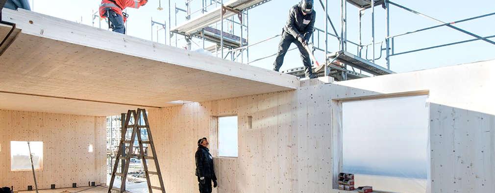 """woodcube Hamburg - """"Ökologisch sinnvoll – CO2-neutral – Bauen"""":  Wände von architekturagentur"""