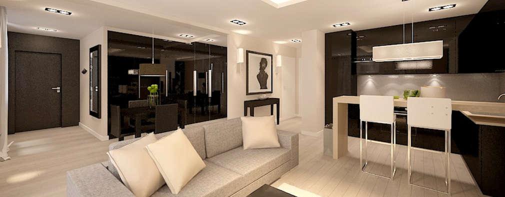 Salas de estilo moderno por Klaudia Tworo Projektowanie Wnętrz Sp. z o.o.