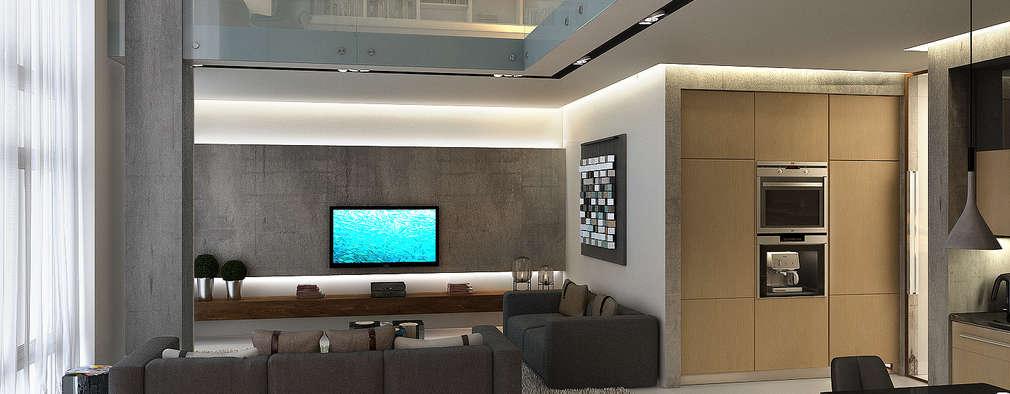 Salas de estilo industrial por Studio 25