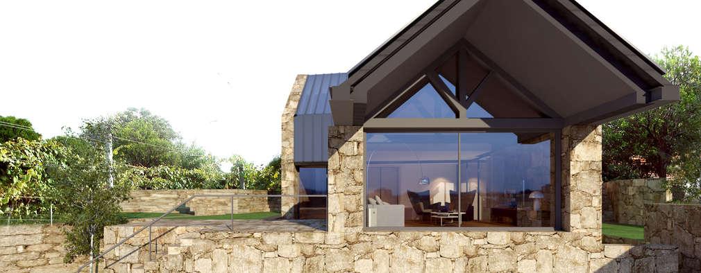 Alçado principal: Habitações  por Davide Domingues Arquitecto