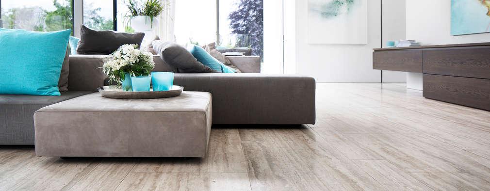 minimalistic Living room by Förstl Naturstein