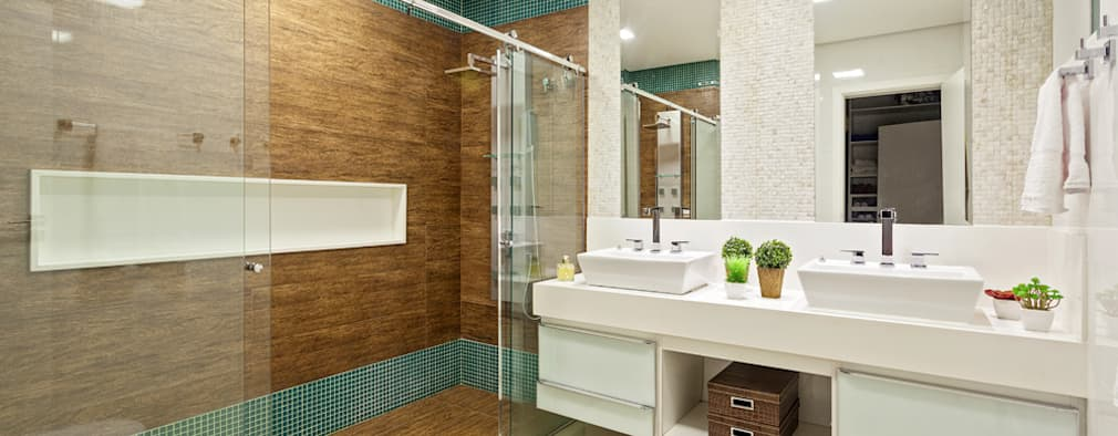 27 banheiros de casal para sonhar acordado -> Banheiro Pequeno Casal