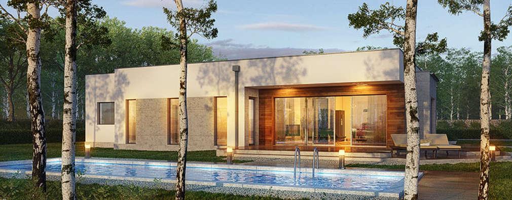 Projekt: Dom w parrocjach: styl , w kategorii  zaprojektowany przez ARCHON+ PROJEKTY DOMÓW