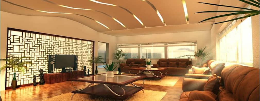 PRATIKSHA: modern Living room by PADARRPAN ARCHITECTS