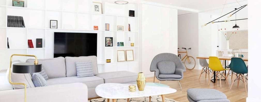 T3 Lisbon Luxury Apartment: Salas de estar modernas por EU LISBOA
