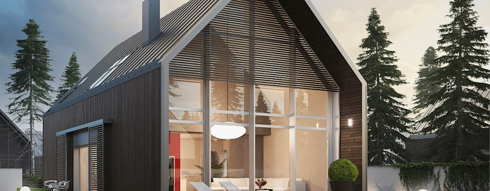 PROJEKT DOMU EX 13 - nowoczesna stodoła w najlepszym wydaniu! : styl nowoczesne, w kategorii Domy zaprojektowany przez Pracownia Projektowa ARCHIPELAG