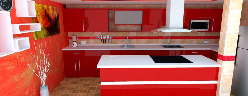 Cocina Espinoza : Cocinas de estilo moderno por GT-R Arquitectos