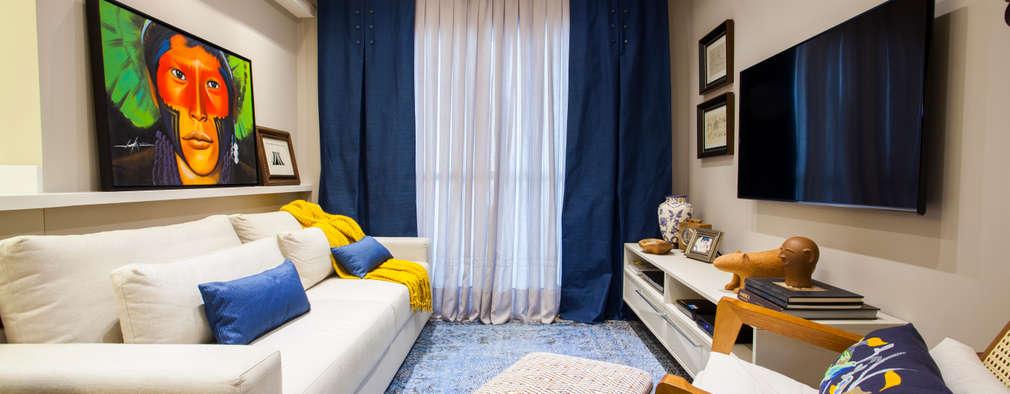 غرفة المعيشة تنفيذ Estúdio HL - Arquitetura e Interiores