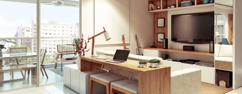 Projekty,  Salon zaprojektowane przez Alessandra Duque Arquitetura & Interiores