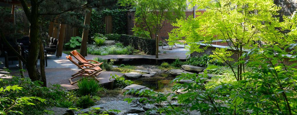 Exclusieve bostuin met waterloop en infinity-pool: moderne Tuin door Van Mierlo Tuinen | Exclusieve Tuinontwerpen
