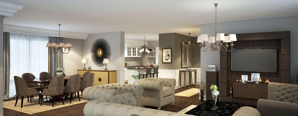 Projekty,  Salon zaprojektowane przez yücel partners