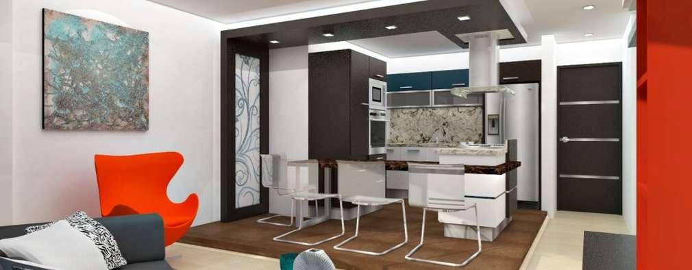Diseño interior de sala y cocina: Cocinas de estilo minimalista por om-a arquitectura y diseño
