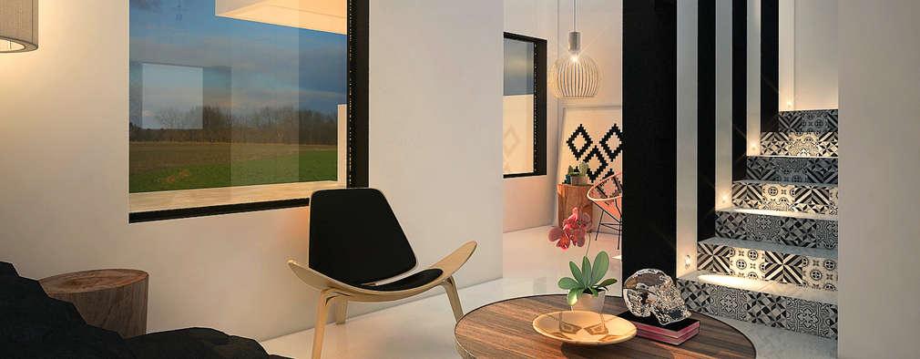 Projekty,  Korytarz, przedpokój zaprojektowane przez Rotoarquitectura