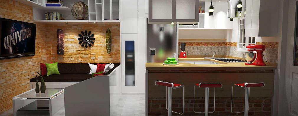 5 maneras de unir la sala con la cocina for Diseno sala comedor cocina