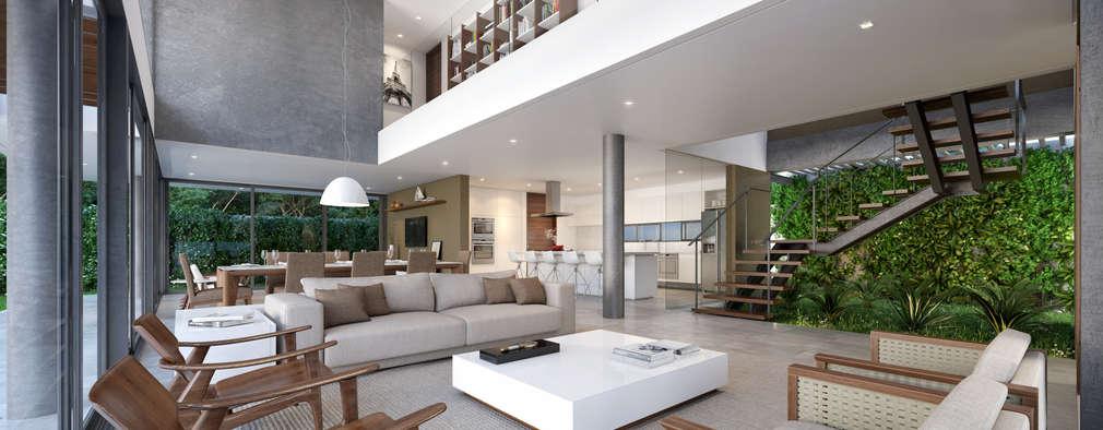 Salas / recibidores de estilo minimalista por Martins Lucena Arquitetos