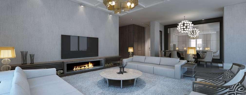 ÖZHAN HAZIRLAR İÇ MİMARLIK – Florya evi: modern tarz Oturma Odası
