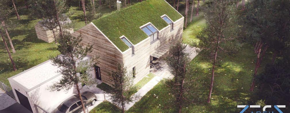 Indywidualny dom jednorodzinny w Lesie: styl nowoczesne, w kategorii Domy zaprojektowany przez RESE Architekci Biuro Projektowe