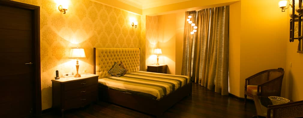 Standard Size High Back Upholstered Back | Two Side tables: modern Bedroom by ACQ Design