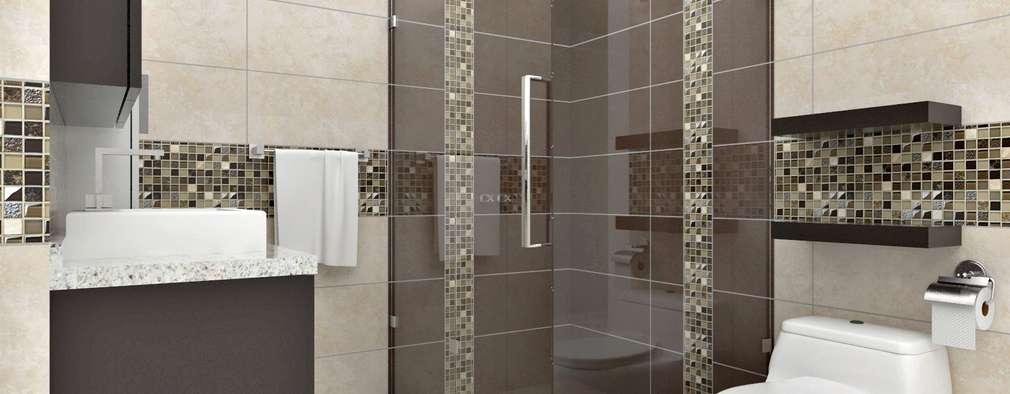 Diseño interior en apartamento, espacio baño principal: Baños de estilo moderno por om-a arquitectura y diseño